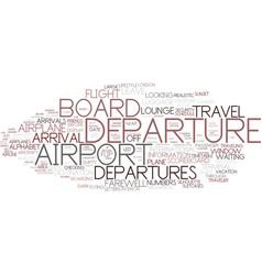 Departures word cloud concept vector