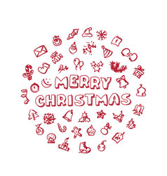 Doodle christmas icons set vector