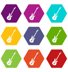 electric guitar icon set color hexahedron vector image vector image