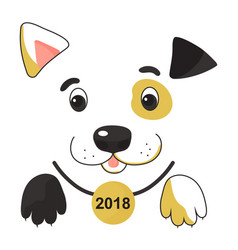 funny spotted yellow dog in a collar with a medal vector image vector image
