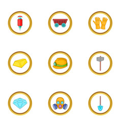 Gold mining icons set cartoon style vector