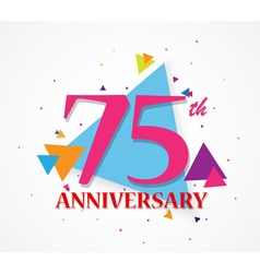 Happy anniversary celebration with triangle shape vector