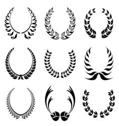 Laureal wreath symbol set vector image vector image
