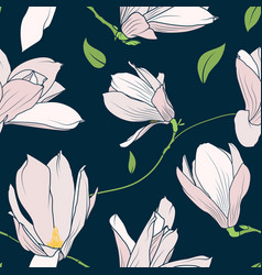 Magnolia sakura spring tree pink flowers navy blue vector