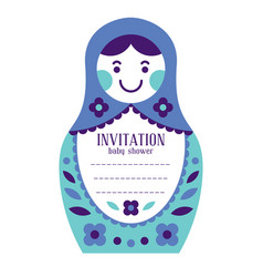 matryoshka russian nesting doll baby invitation vector image