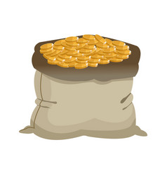 Open money bag golden coins currency icon vector