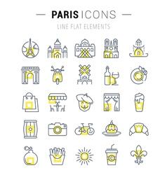 Paris Line Icons 7 vector image