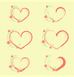 Pastel roses and hearts vector