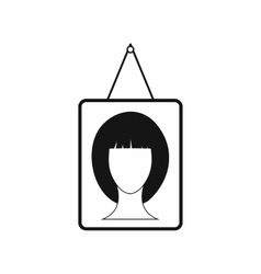 Portrait of a woman in a frame icon simple style vector