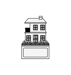 Silhouette apartment with two floors design vector