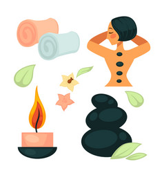 Spa salon poster with relaxing woman and necessary vector
