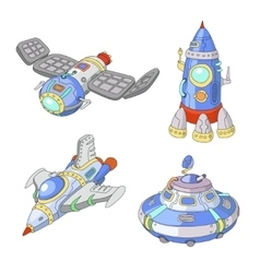 Spaceship and UFO cartoon set Rocket vector image vector image