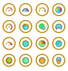 speedometer icons circle vector image