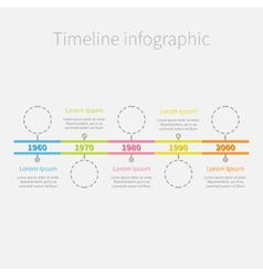 Timeline infographic dash line circles and colour vector