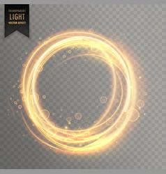 Transparent light effect with circlular golden vector