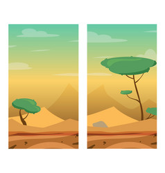 Vertical with desert dunes trees and stones vector