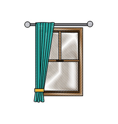 window home architecture curtain interior image vector image