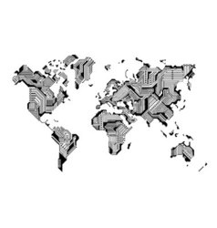 World map circuit board design vector