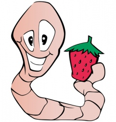 worm and strawberry vector image