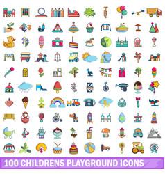 100 childrens playground icons set cartoon style vector