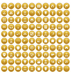 100 different professions icons set gold vector