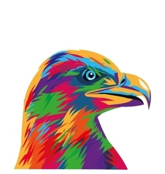 Colorful eagle drawing icon vector