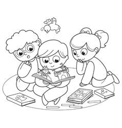 Three kids reading a pop-up book vector