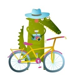 Traveling crocodile tourist with suitcase camera vector