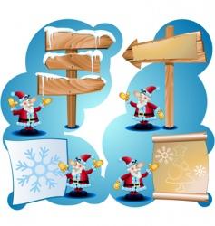 santa claus and road signs vector image