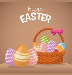 happy easter basket egg ornament vector image