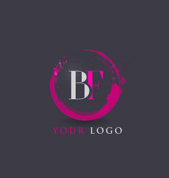 Bf letter logo circular purple splash brush vector