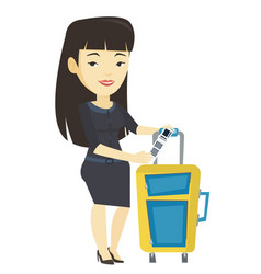 Asian business woman showing luggage tag vector