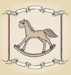 vintage horse label vector image