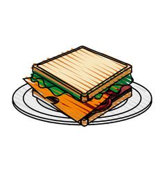 color crayon stripe cartoon bread sandwich in vector image