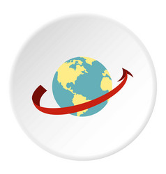 travelling by plane around the world icon circle vector image