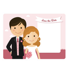 Cartoon wedding invitation with a pink sky vector
