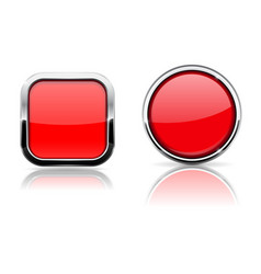red glass buttons square and circle shiny icons vector image