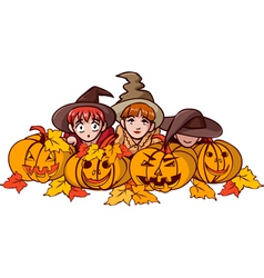 Children and pumpkin vector
