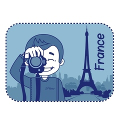 Teaser with photographer travels through france vector