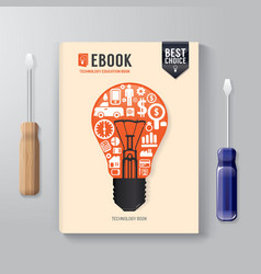 Cover book digital design template technology vector