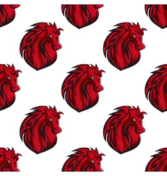 Seamless pattern of red horses heads vector image