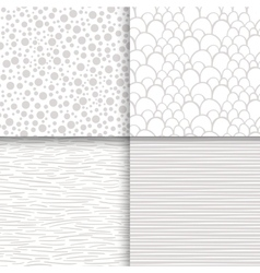 Simple neutral monochrome seamless patterns set vector