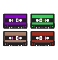 Colorful retro audio cassettes vector