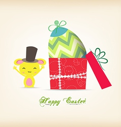 Happy easter with egg inside gift box and bunny vector