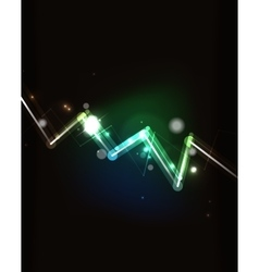 Glowing arrow in dark space vector