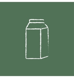 Packaged dairy product icon drawn in chalk vector