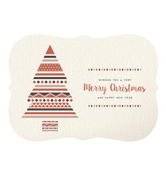Merry christmas happy new year geometry tree shape vector