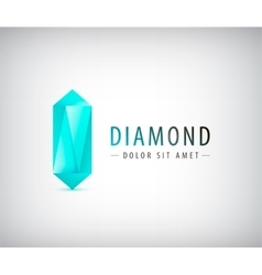 3d diamond crystal logo icon vector