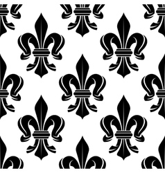 Black and white fleur-de-lis seamless pattern vector
