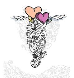 heart of love doodle vector image